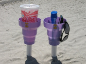 BEACH CUP HOLDERS-This order contains 3 beach cup holders. These Beach Drink Holders are the perfect place to hold your drink and more at the beach or in your car. This offer is for Lavender KUPs Only!! Each order gets you 3 Beach Cup Holders