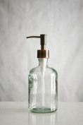 Clear Recycled Glass Soap Dispenser w/ Rustic Copper Pump