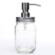 Vintage Inspired Mason Jar with Silver Pump and Lid for Dispensing Soaps and Decorating Homes