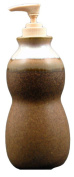 PRADO STONEWARE COLLECTION - Liquid Soap or Lotion Dispenser With Pump For Kitchen, Bathroom, Bedroom - Rustic Brown