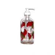 ArtisanStreet's Red Chilli Pepper Design Soap or Lotion Pump Dispenser. Features Red Hot Chilli Peppers Hand Painted on Clear Glass. Made To Order.