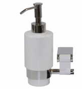 Iris Wall Soap Dispenser, Brass Polished Chrome & White Ceramic Bottle, Wall Mounted, Bathroom Accessories, Made in Spain