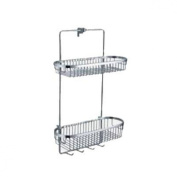 Fluid Faucets FA18054 Utopia Wall-Mounted 2-Tier Shower Basket, Chrome, 1-Pack