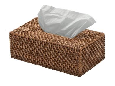KOUBOO Rectangular Rattan Tissue Box Cover, Honey Brown
