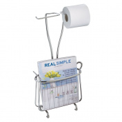 InterDesign Axis Free Standing Toilet Paper Holder and Newspaper and Magazine Rack for Bathroom - Chrome
