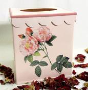 Vintage & Retro Tissue Box Cover ~ Tissue Box Holder ~ Kleenex Holder E62~ Shabby Chic Pink Enamel with Antique Long Stem French Roses.