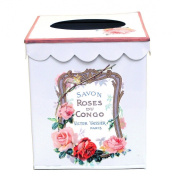 Vintage Style Tissue Holder ~ Tissue Box Cover ~ Tissue Box Holder ~ Kleenex Holder E63~ French White Enamel with 1930's French Vintage Label