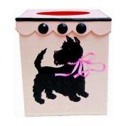 Vintage or Retro Tissue Holder ~ Tissue Box Cover ~ Tissue Box Holder ~ Kleenex Holder E57~ French Pink Enamel with Retro Style 50's Scottie Art