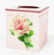 Vintage Style Tissue Holder ~ Tissue Box Cover ~ Tissue Box Holder ~ Kleenex Holder E59~ Retro Chic Pink Enamel with Antique French Rose.