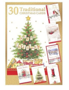 Pack of 30 Quality Christmas Cards - Assorted Bumper Traditional Xmas Cards