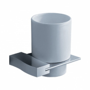 Fluid Faucets FA12011 Viola Wall-Mounted Ceramic Tumbler and Holder, Chrome, 1-Pack