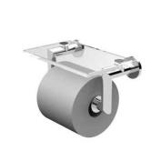 Ginger 4627/PC - Kubic Double Post Toilet Tissue Holder With Cover, Plain Rosette - Polished Chrome