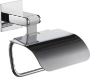 Iris Toilet Paper Roll Holder with Lid, Polished Chrome-white Aluminium, Bathroom Accessories Tissue Holder, Made in Spain