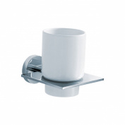 Fluid Faucets FA21011 Jovian Wall-Mounted Ceramic Tumbler and Holder, Chrome, 1-Pack