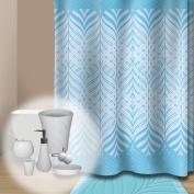 New Premium Quality Blue Fabric Shower Curtain - Scenery