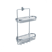 Fluid Faucets FA20054 Penguin Wall-Mounted 2-Tier Shower Basket, Chrome, 1-Pack