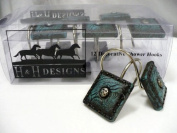WESTERN TURQUOISE CONCHO SHOWER CURTAIN HOOKS 12pc