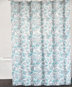 DKNY Graphic Petals Cotton Fabric Shower Curtain Grey Grey Aqua Green on White