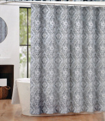Tahari Textured Damask Blue White Tan Fabric Shower Curtain