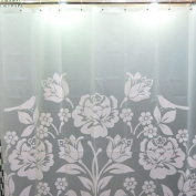 H:oter Chinese Style Waterproof Shower Curtain, White Paper-Cuting Design