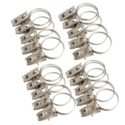 Vktech 20pcs Stainless Steel Window Shower Curtain Rod Clips Rings Drapery Clips