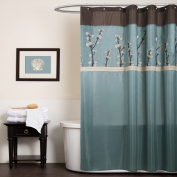 Triangle Home Fashions 19259 Lush Decor Cocoa Flower Shower Curtain