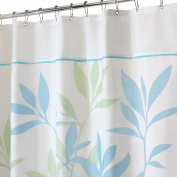 InterDesign Leaves Fabric Shower Curtain - Stall, 140cm x 200cm , Soft Blue/Green