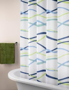 ElleWeiDeco Blue Wave Mildew Proof Polyester Fabric 180cm x 180cm Shower Curtain