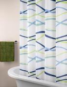 ElleWeiDeco Blue Wave Mildew Proof Polyester Fabric 180cm x 180cm Shower Curtain