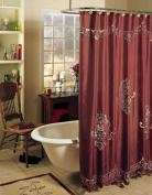 Valencia Cutwork Embroidery Fabric Shower Curtain Burgundy