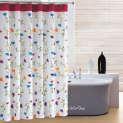 Elleweideco Orchid Flowers Mildew Proof Polyester Fabric 180cm x 180cm Shower Curtain