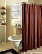 Metro Stripe BURGUNDY with Black Fabric Shower Curtain Holiday