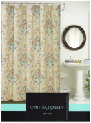 Cynthia Rowley Ischia Paisley Fabric Shower Curtain In Shades of Burnt Orange, Seafoam Green, Aqua, Beige, White & Grey