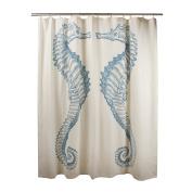 thomaspaul Cotton Seahorse Shower Curtain, 180cm , Aqua