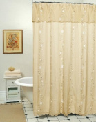 Daisy Embroidered Floral Fabric Shower Curtain Taupe Tan