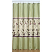 Embroidered Fabric Butterfly Shower Curtain