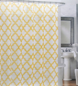 Cynthia Rowley Cotton Fabric Shower Curtain Yellow Quatrefoil Trellis Lattice