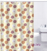 ElleWeiDeco Bisque with Purple Brown White Circles Mildew Proof Polyester Fabric 180cm x 180cm Shower Curtain