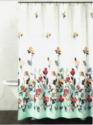 DKNY Watercolour Fields Fabric Shower Curtain In Aqua / Coral