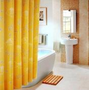 ElleWeiDeco Yellow Marine Life Mildew Proof Polyester Fabric 180cm x 180cm Shower Curtain