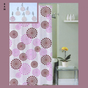 Retro/Vintage Design Fabric Shower Curtain with 12 Matching Metal/Ceramic Shower Curtain Hooks/Rings
