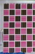 "Stripes/Cheque, Peva Shower Curtain, 180cm x 72,"" BLACK/PINK"