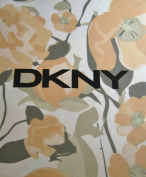DKNY Falling Petals Cotton Fabric Shower Curtain Sorbet, Peach, Grey Floral on White Pattern