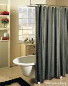 Metro Stripe BLACK grey Fabric Shower Curtain