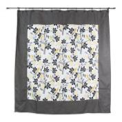 Chooty Small Talk Blackbird Summerhouse Graphite 180cm by 180cm Mitered Shower Curtain