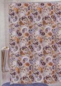PEVA Shower Curtain Paisley Print Lavender/Aqua/Brown/Orange