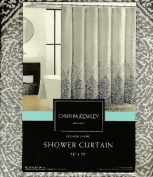 Cynthia Rowley Luxury Stamped Ombre Grey & White Fabric Shower Curtain