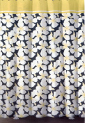 DKNY Art Deco Floral Fabric Shower Curtain ~ Charcoal / Buttermilk Yellow