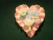 6 pc Cold Porcelain Trinket Cake Deco Capia Baby Shower Favour - Pink Heart