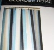 Blonder Home Shower Curtain-Blue and Black Stripes